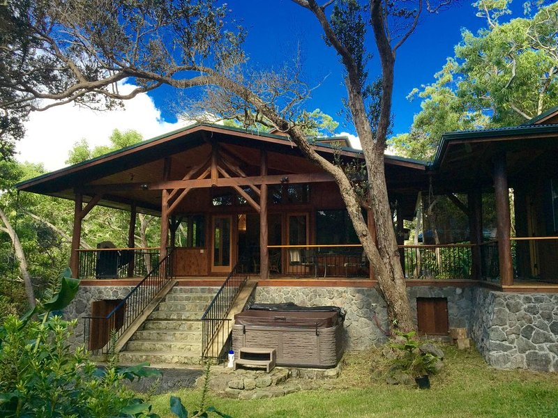 Hand Crafted Luxury Cabin with Bikes, Jacuzzi & Fireplace - 1 mile to Natl Park, holiday rental in Volcano