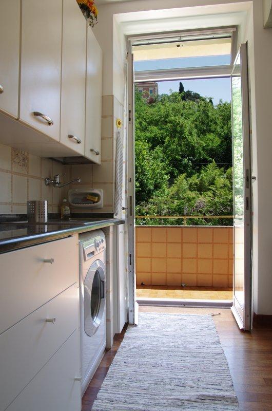 Vista dalla zona cucina su un'area verde confinante