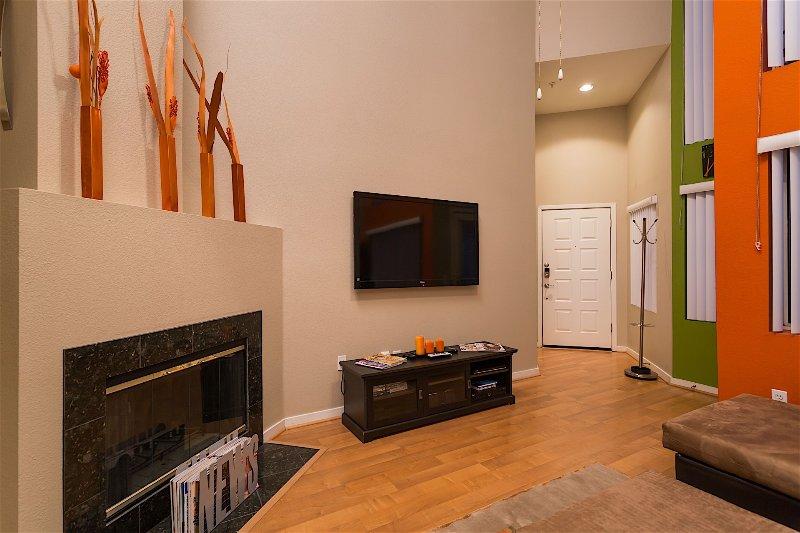 Piso de madera, chimenea, estufa, Interior, Sala