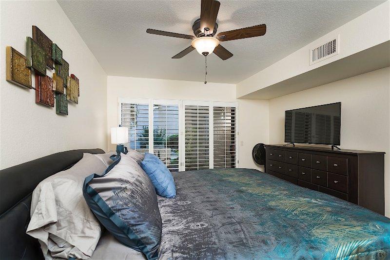 Cama, dormitorio, muebles, luminaria, Interior