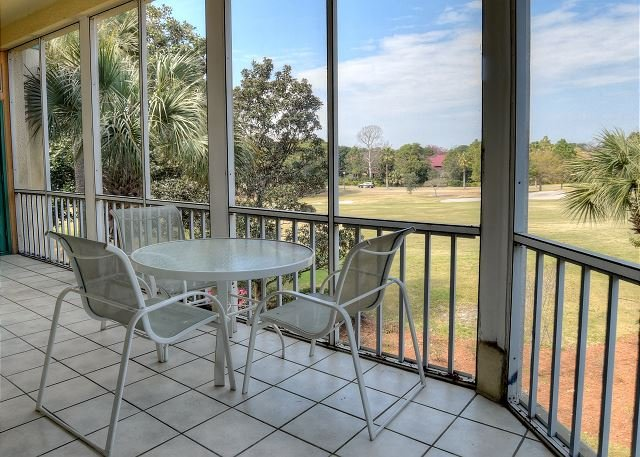Balcony overlooking the golf course