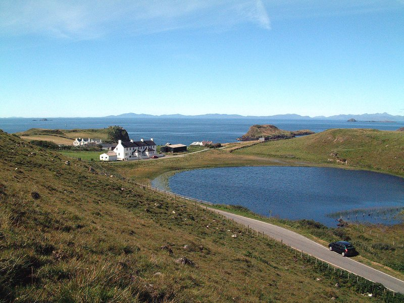View across Loch Cleat to the Coastguard Cottages and the Outer Isles. Stunning scenery!