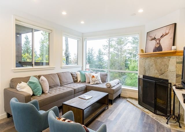 Bright Living Area with gas fireplace and glorious views!