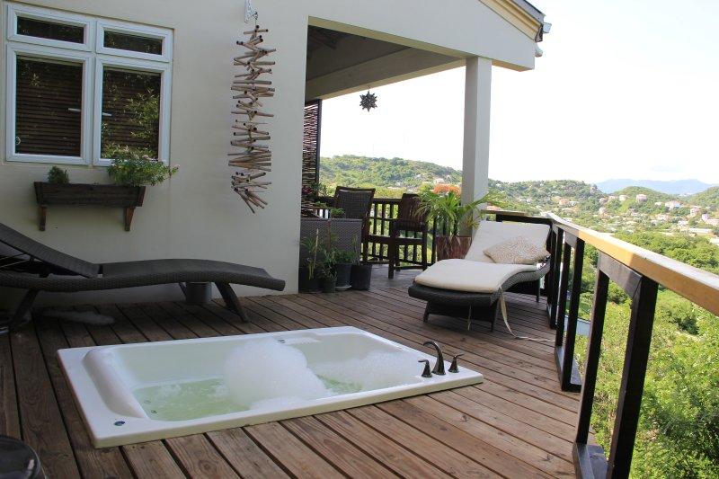 La piscina de hidromasaje privada con vista al balcón