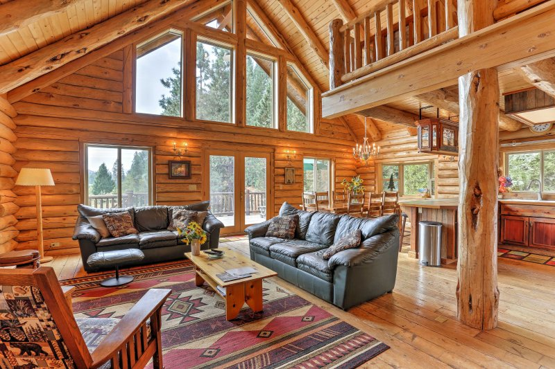 Find peace and tranquility in the mountains of California when you stay at this log cabin-style 4-bedroom, 3-bath vacation rental home.