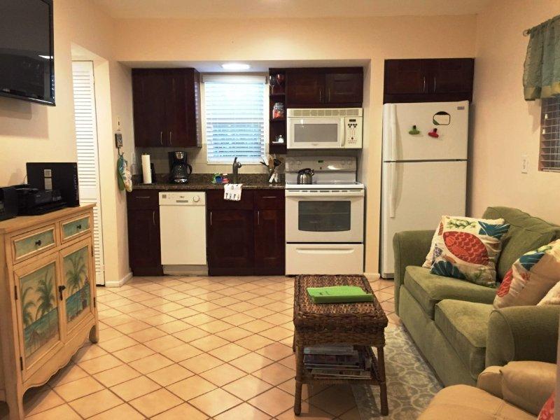 Onze luxe woonkamer en een keuken. Volledige fauteuil niet getoond. Breedbeeld-tv. DVD. Wifi. Granieten aanrechtblad.