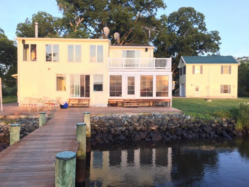 Rear view of house with dock and patio