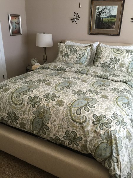 Beautiful Cozy Comfy new bed and bedding. Top of the line Comfort bed. Room Darkening Drapes.