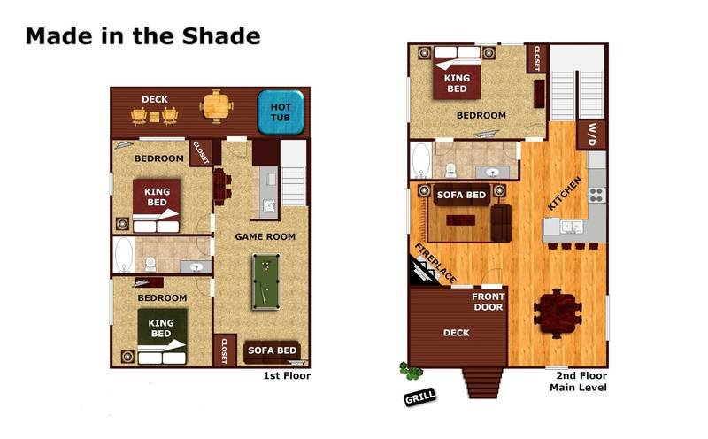 Floor Plan of Southern State of Mind - 3 Bedrooms, 2 Bathrooms. Sleeps 8