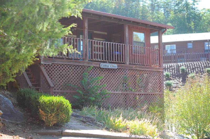 Front of cabin with beautiful porch overlooking the Smokies!