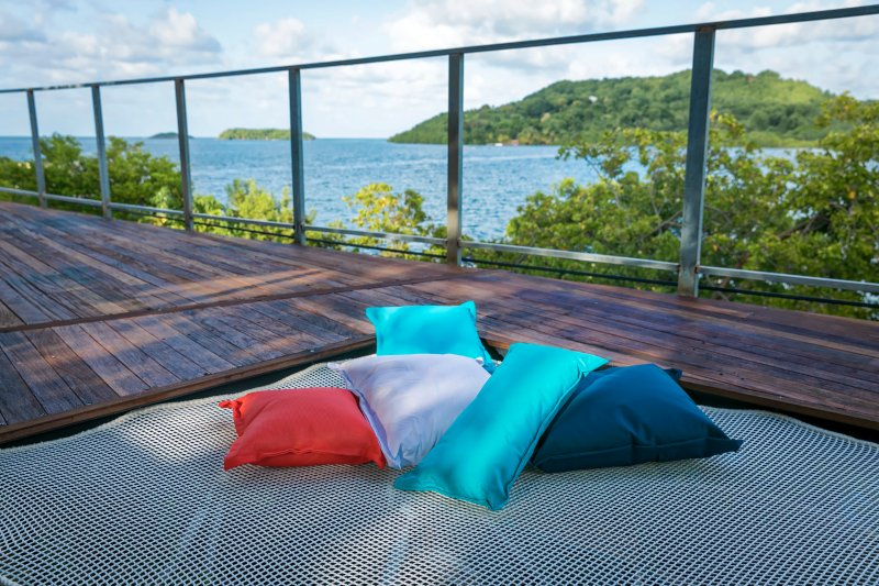 The catamaran net incorporated in the deck, the perfect place for a nap outdoors