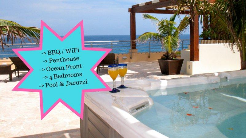Riviera Maya Haciendas, Al Cielo Penthouse - Terrazza, Vasca idromassaggio privata e Ocean View & BBQ