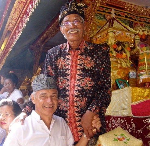 Owner Pak Oka Agung and Peter at a ceremony