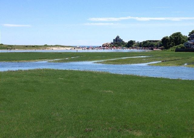 View of Good Harbor Beach across the marsh.
