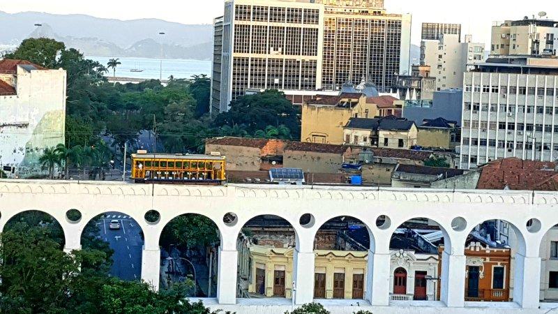 Arcos da Lapa och Santa Teresa Tram. Fantastisk utsikt över Lapa Arches och Santa Teresa Bondinho