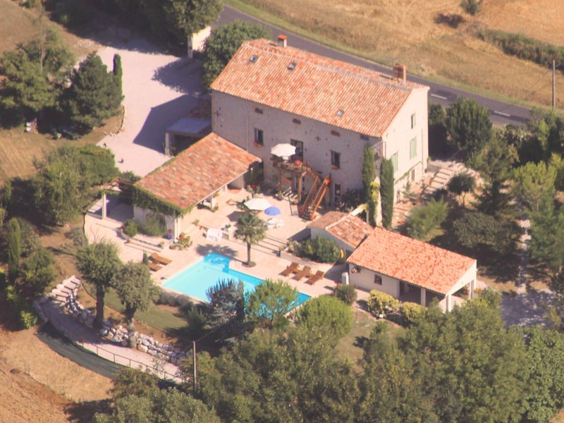 Aerial view of the house, gîte on the left.