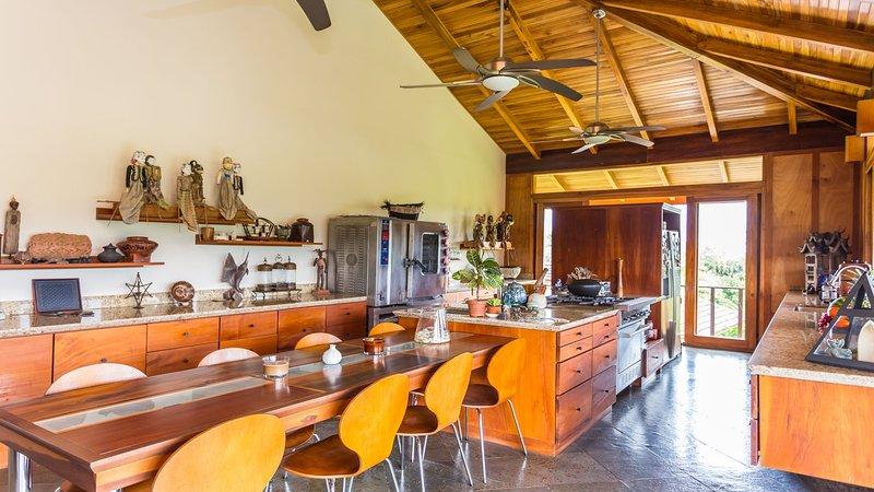 cocina gourmet grande con 8 asientos mesa de comedor grande para las familias numerosas