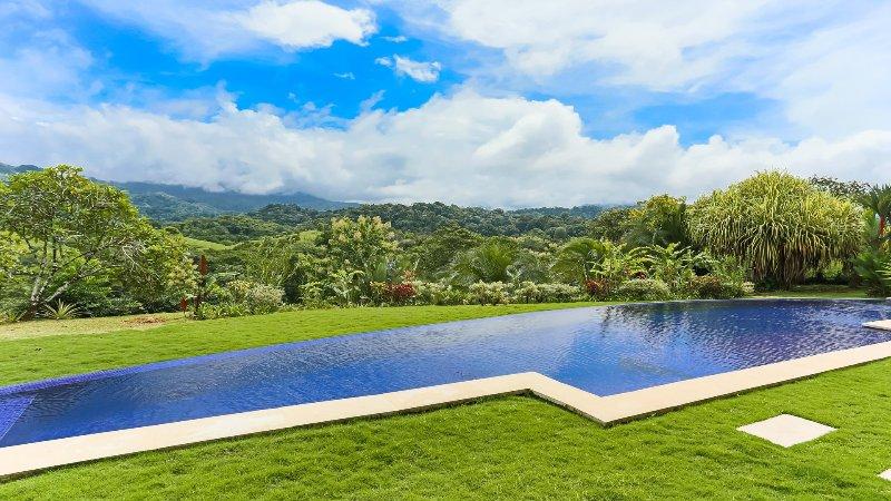 El gran patio y la selva tropical rodea la piscina regazo