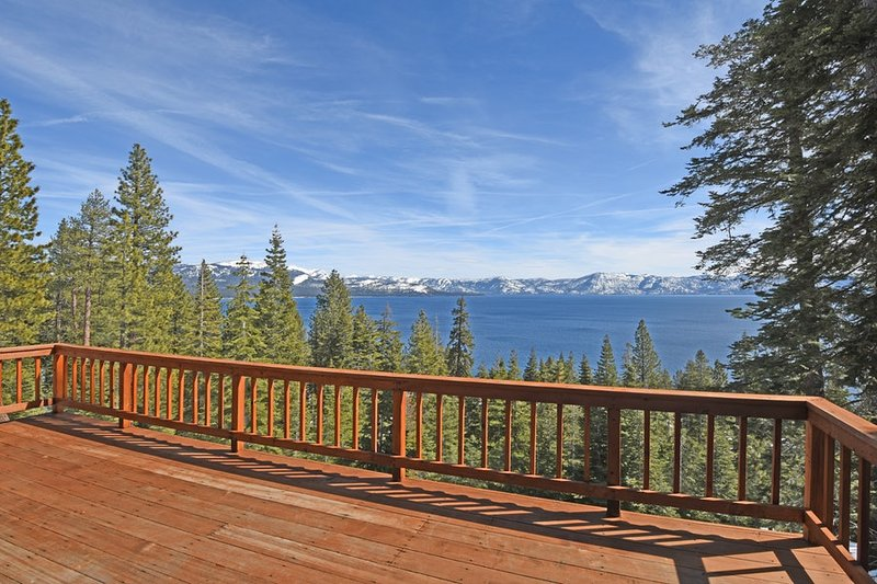 Enjoy 180 degree views of Lake Tahoe from the back deck