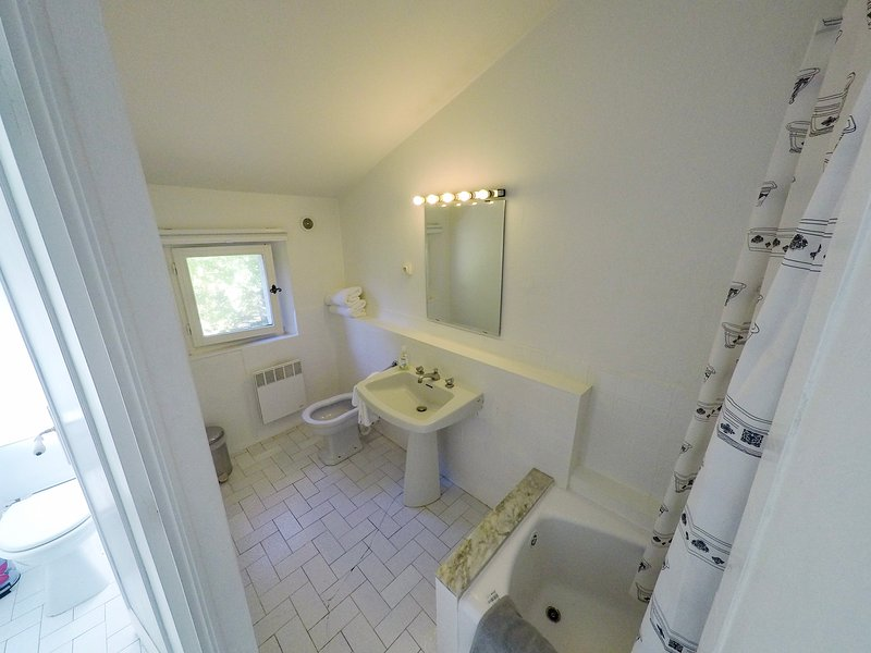 bathroom with shower over bath, separate toilet