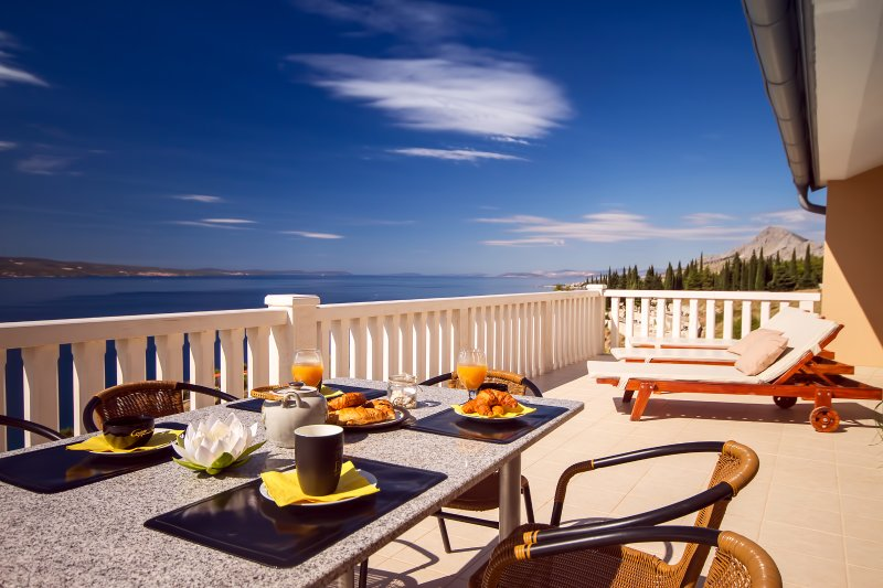 Amazing sea and island view from 3rd floor terrace with outdoor furniture