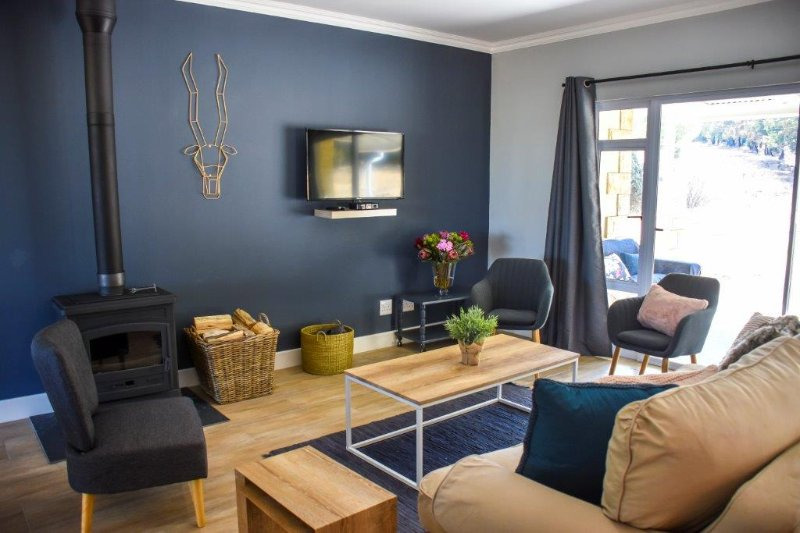 Living room lounge area with TV, DSTV, wood burning fireplace, Wifi and cosy seating