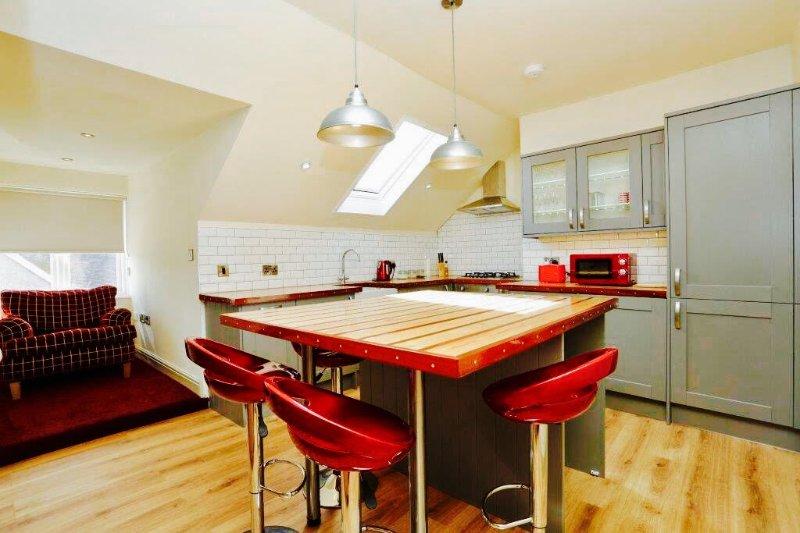 La grande cucina abitabile su misura compresi tutti gli elettrodomestici nuovi di zecca