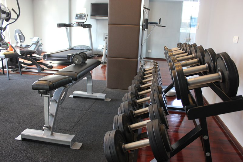 Free weights and bench.