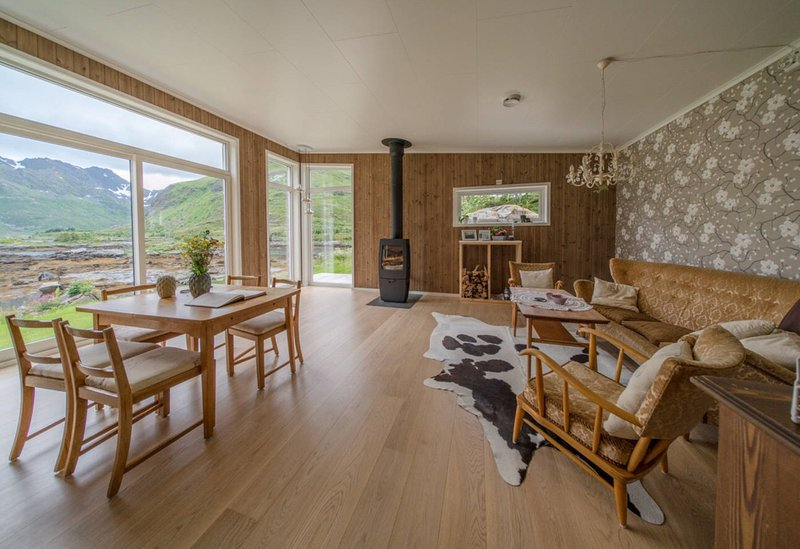 The Living Room with a fantastic view over the mountains and the sea and the fjord