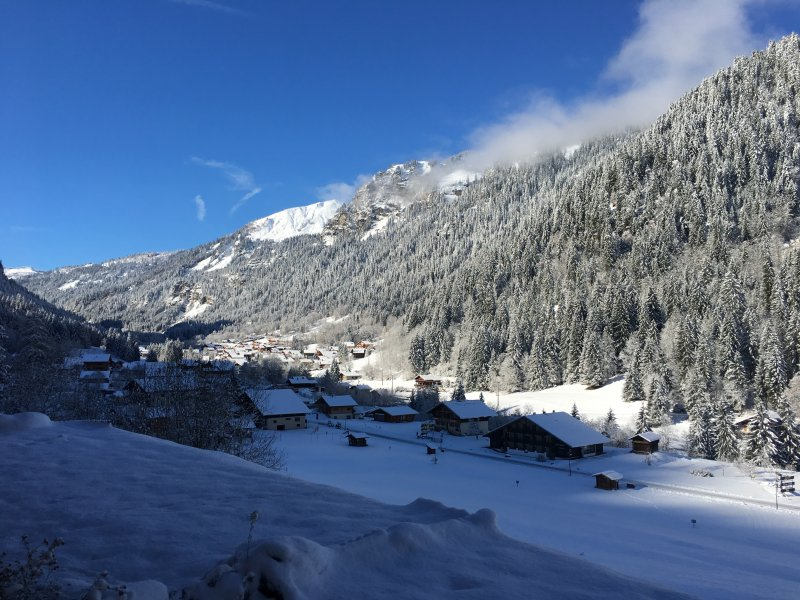 View from the apartment along the valley in the opposite direction to Chatel town