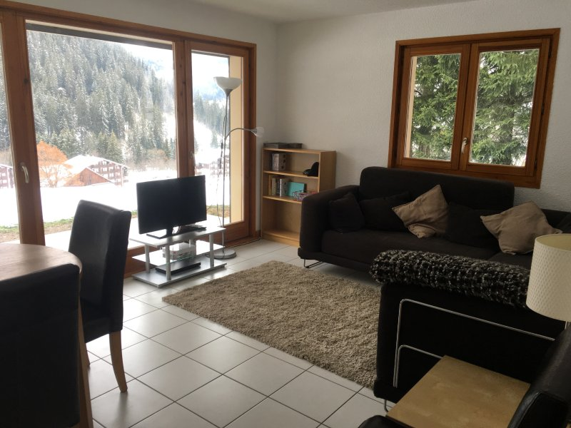 The living area with views from the terrace/doors along the valley and Chatel town centre