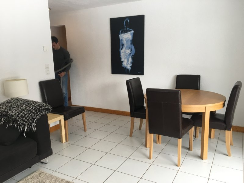 The dining area of the living area. The table extends to seat 6 people