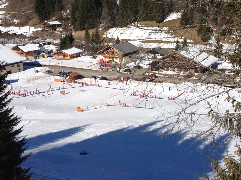 View of childrens ski school from apartment