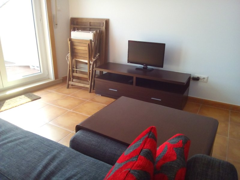 Living room with sofa and TV.