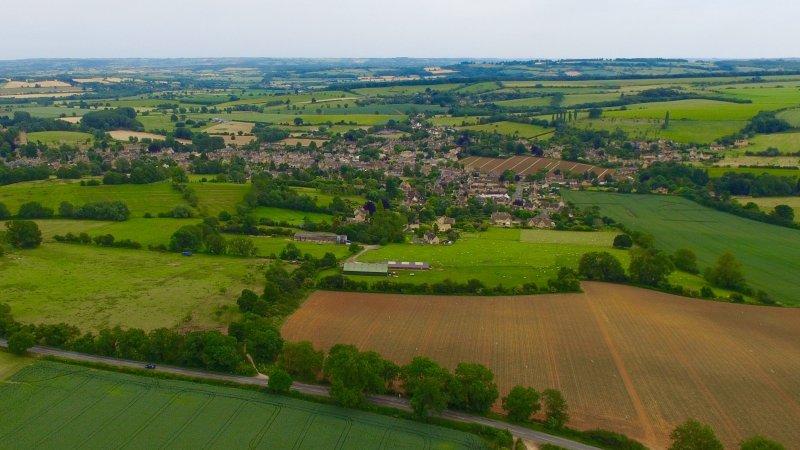 The North Cotswolds. Eine Luftaufnahme des in der Nähe von Chipping Campden genommen von Dovers Hill (NT).