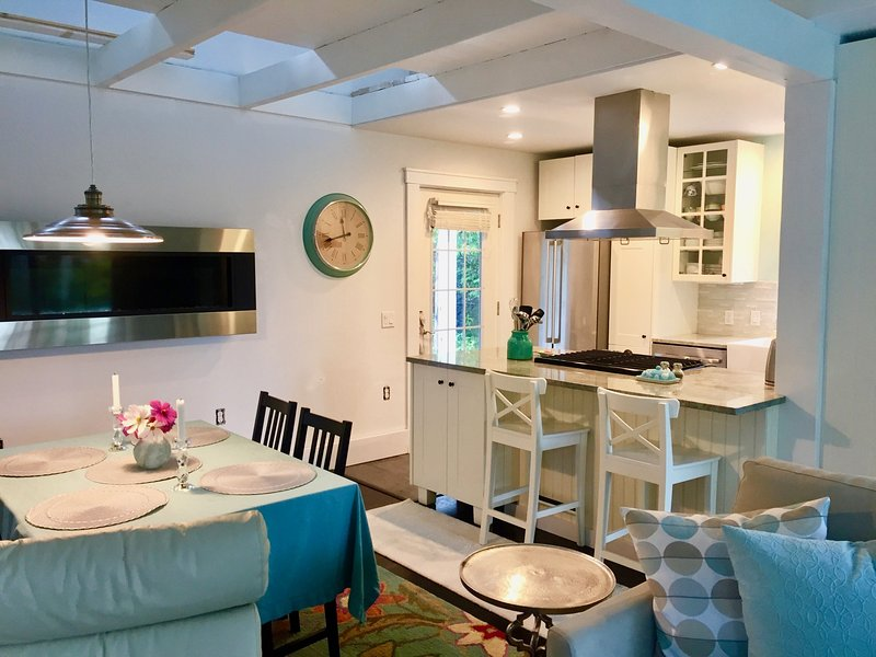 Open space soggiorno / sala da pranzo / cucina con parete appeso camino a gas.