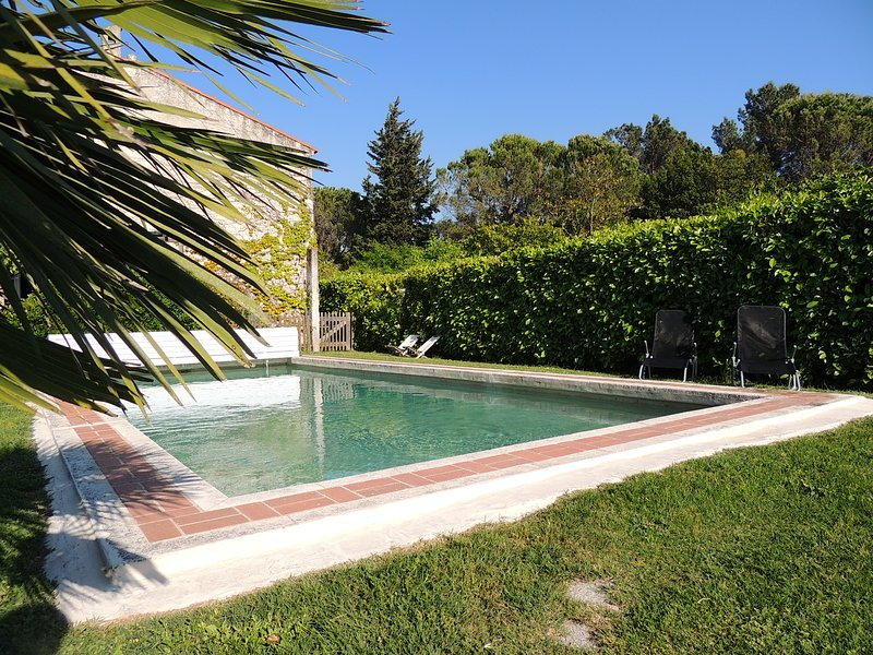 The pool 11m / 5m and 2m deep with a natural coating of cast stone.