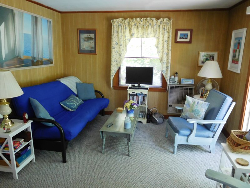 Kick back and enjoy our newly updated living room!  Futon pulls out to full size bed in case.