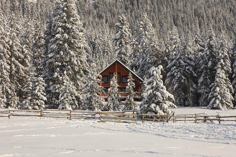 Frente a la casa de campo en invierno