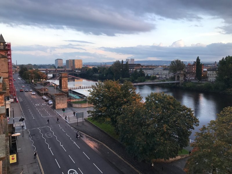 This is the view from our balcony. The River Clyde is beautiful.