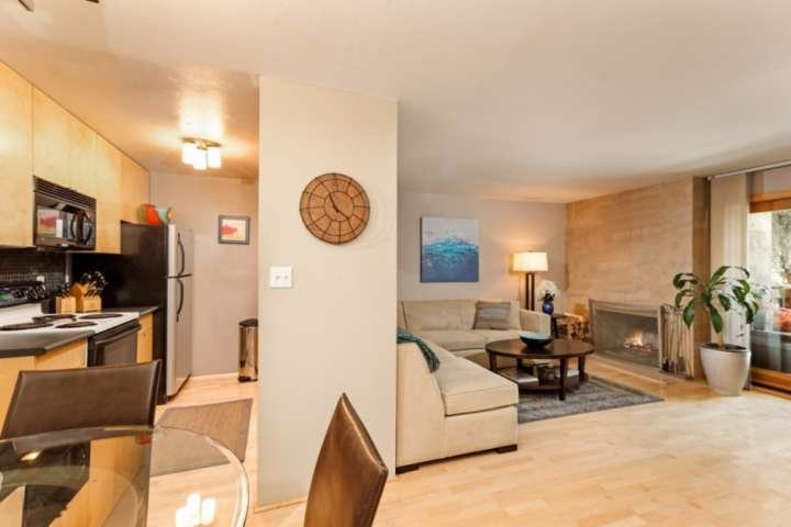 Full kitchen, wood burning fireplace, large sectional sofa with pull out bed and private balcony make this a wonderful Aspen retreat
