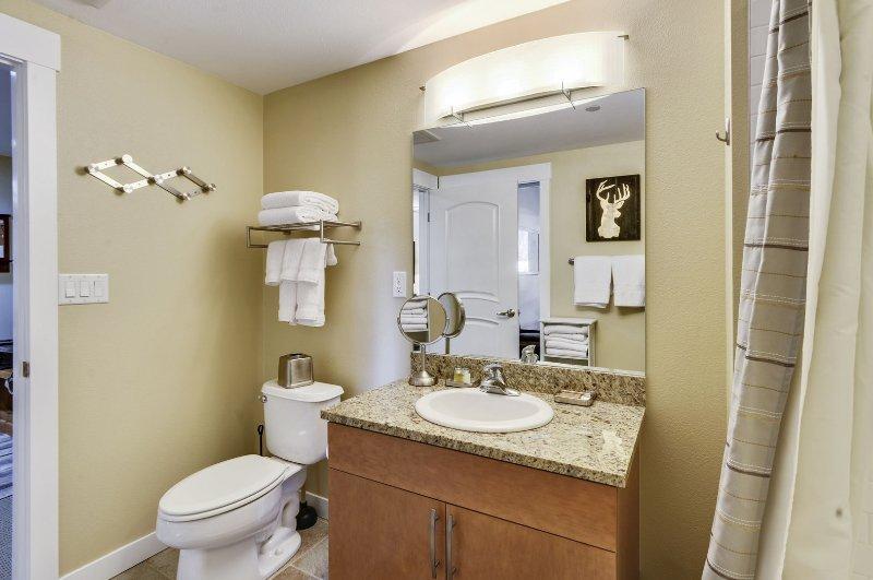 Ducha personalizada y tina en el baño principal, champú y champú orgánico de cortesía proporcionados