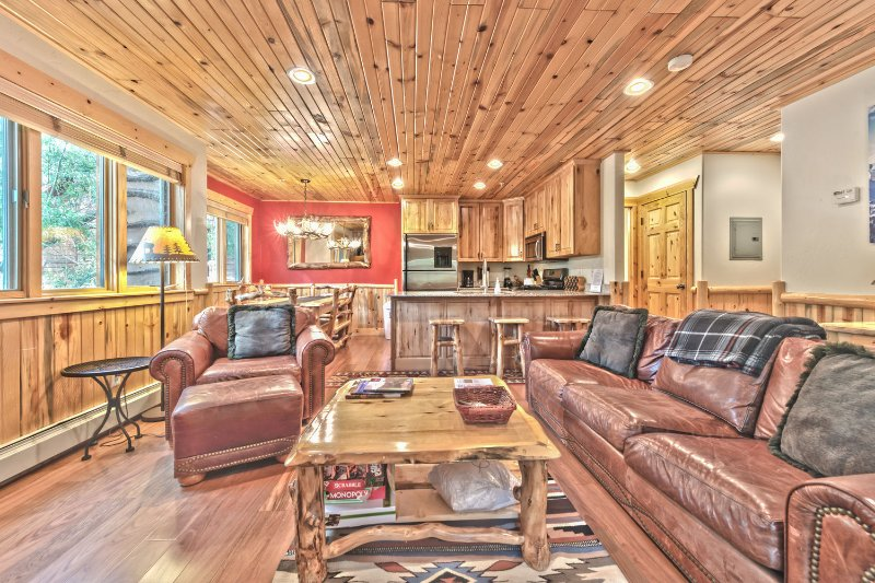 Great Room - Living Room, Fully Equipped Kitchen with Bar Seating and Dining Area