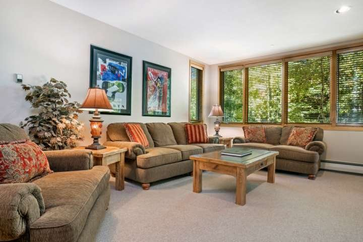 Welcoming living room space with comfortable plush mountain furnishings.