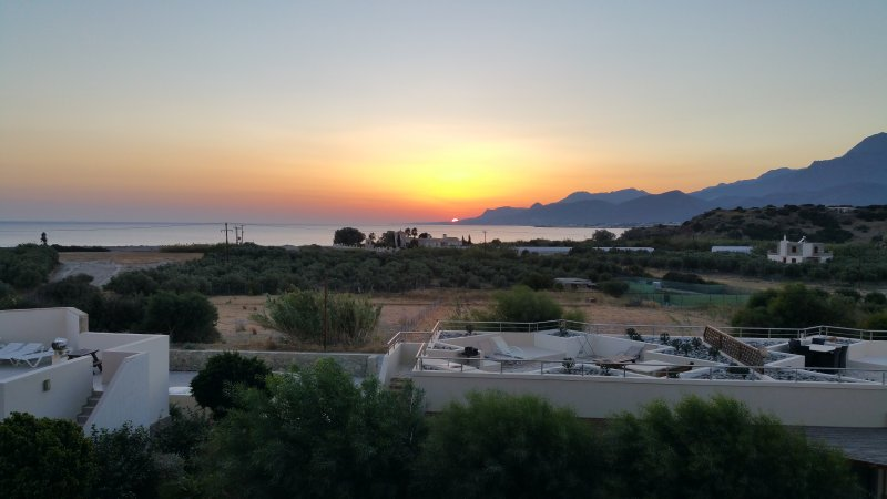 Sunset behind the village of Makrigialos