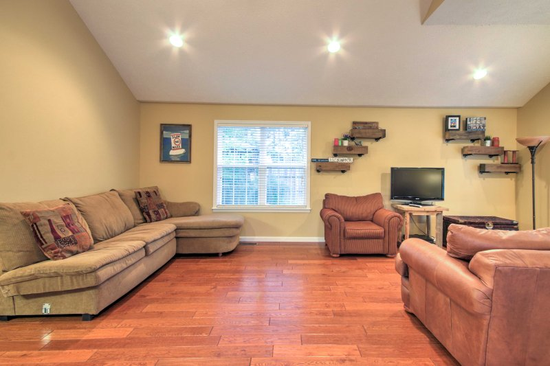 The open-concept living area makes the home feel even more spacious and inviting.