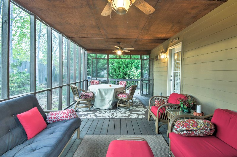 The covered porch is a great space to entertain guests in the evenings.