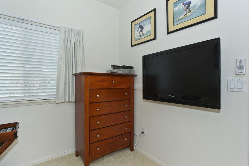 Den avec un lit et une télévision