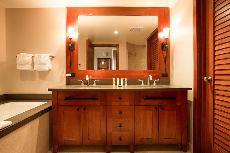 Master Bathroom with Dual Sinks, Large Soaking Tub and a Walk-in Shower