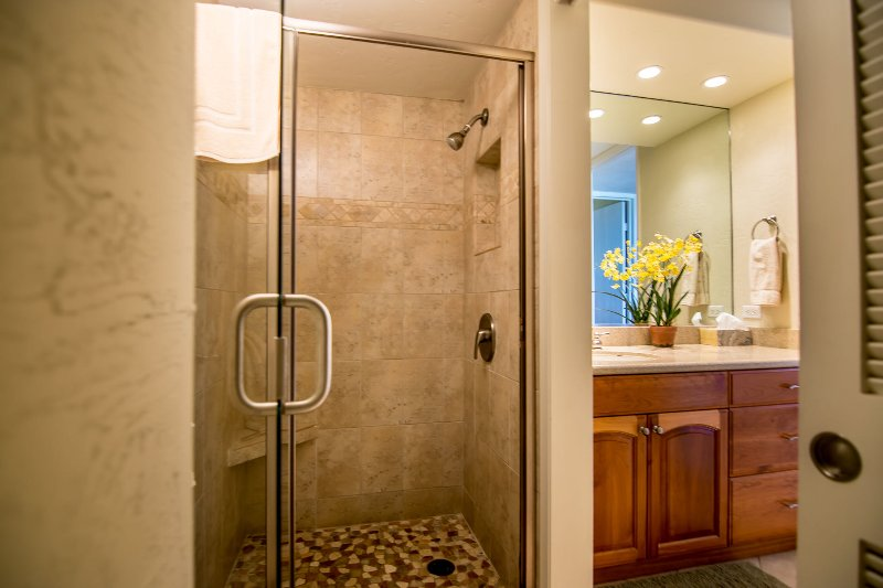 Separate shower area.